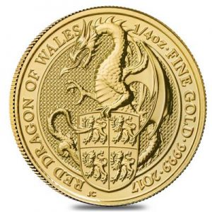 2017 Queens Beasts Red Dragon coin gold 1/4 oz