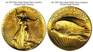 1907 Ultra High Relief Saint-Gaudens valuable US coins