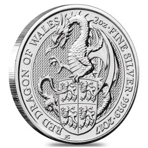 Best 2017 silver coins Great Britain 2 oz Silver Queen's Beast (Red Dragon)