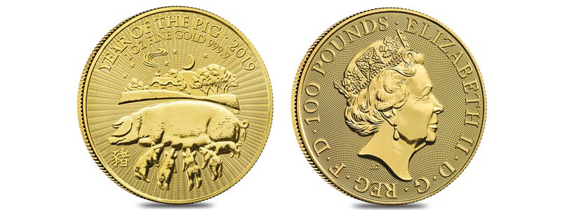 2019 Great Britain 1 oz Gold Year of the Pig Coin .9999 Fine BU