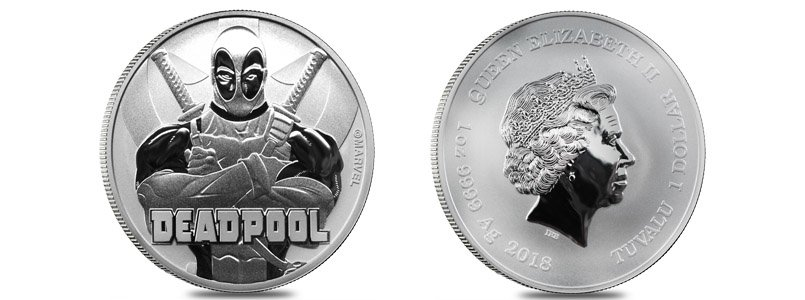 2018 1 oz Tuvalu Deadpool Marvel Series Silver Coin .9999 Fine Silver BU In Cap