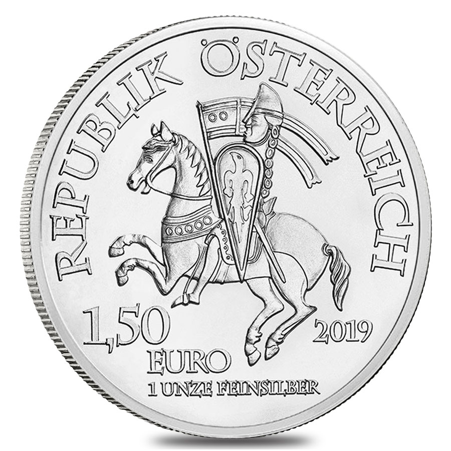 Duke Leopold V's equestrian banner features on the coin's reverse