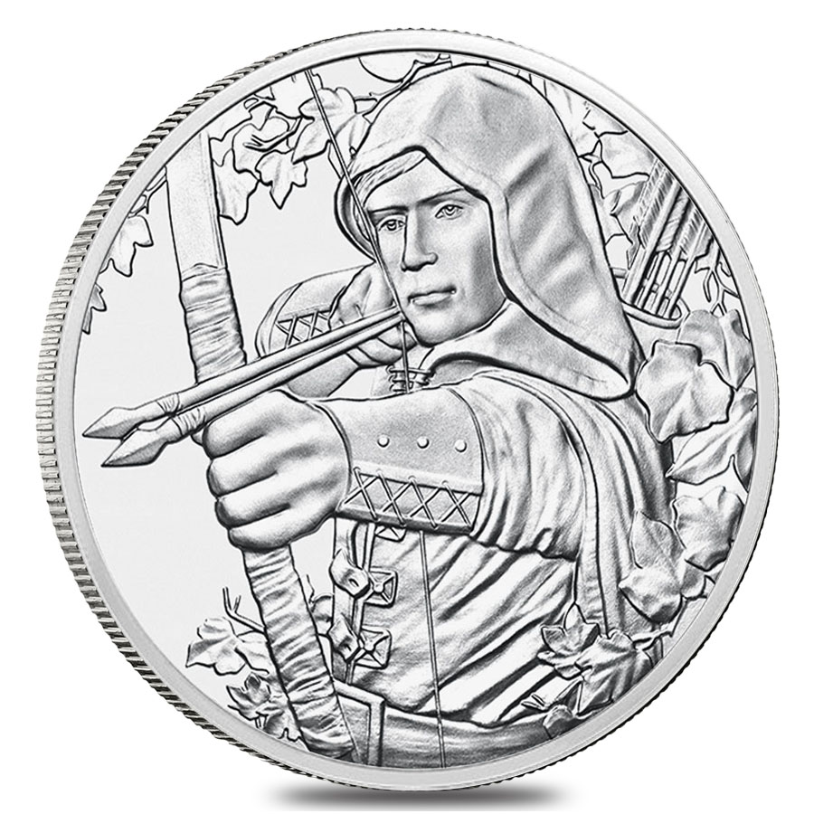 Robin Hood features on the coin's obverse, nocking two arrows in his bow