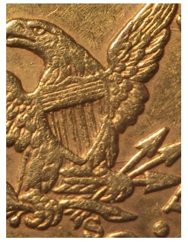 1862-S $2.50 Liberty reverse coin counterfeit marks hint clue