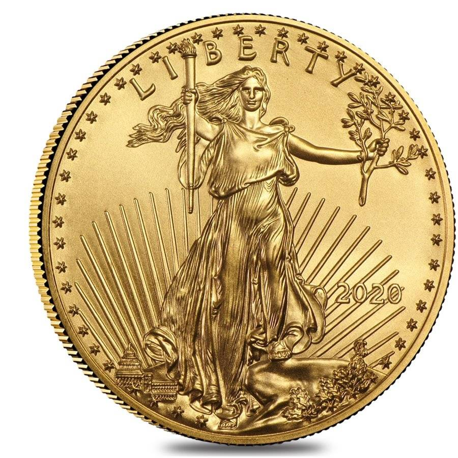US Mint 2020 Gold American Eagle coin Obverse 1/4 oz