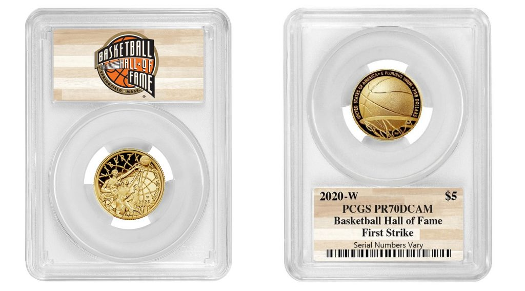 US Mint West Point 2020 W Basketball PCGS PF70 Deep Cameo gold coin Naismith Memorial Hall of Fame Logo