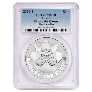 2020 1 oz Tuvalu Krusty The Clown Silver Coin PCGS MS 70 First Strike Bullion Exchanges Perth Mint