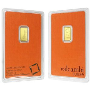 1 gram Gold Bar Valcambi Suisse .9999 Fine (In Assay)
