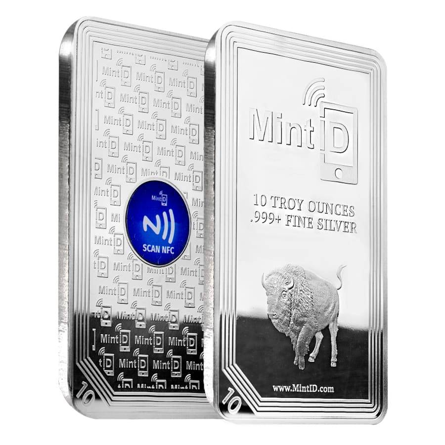 10 oz MintID Buffalo Silver Bar .999+ Fine (NFC Scan Authentication) Bullion Exchanges
