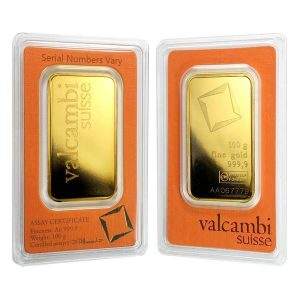 100 gram Gold Bar Valcambi Suisse .9999 Fine (In Assay) Bullion Exchanges