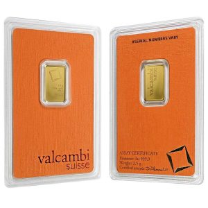 2.5 gram Gold Bar Valcambi Suisse .9999 Fine (In Assay) Bullion Exchanges