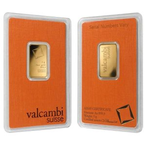 5 gram Gold Bar Valcambi Suisse .9999 Fine (In Assay)