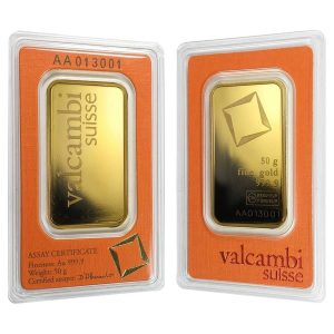 50 gram Gold Bar Valcambi Suisse .9999 Fine (In Assay) Bullion Exchanges