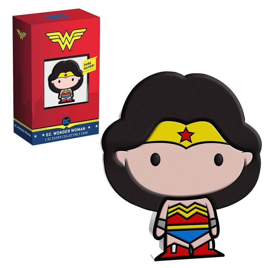 2020 1 oz Colorized Silver Wonder Woman - Niue Chibi Coin Collection $2 Coin .999 Fine (w/Box & COA) Bullion Exchanges
