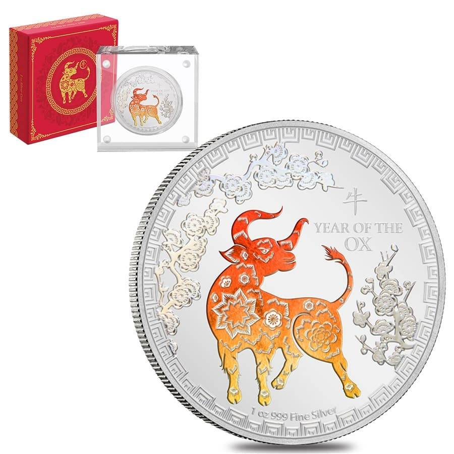 2021 Niue 1 oz Proof Colorized Lunar Year of the Ox $2 Silver Coin (w/Box & COA) Bullion Exchanges