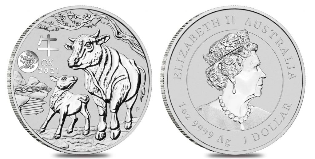 2021 Year of the Ox silver coin dragon bullion exchanges perth mint