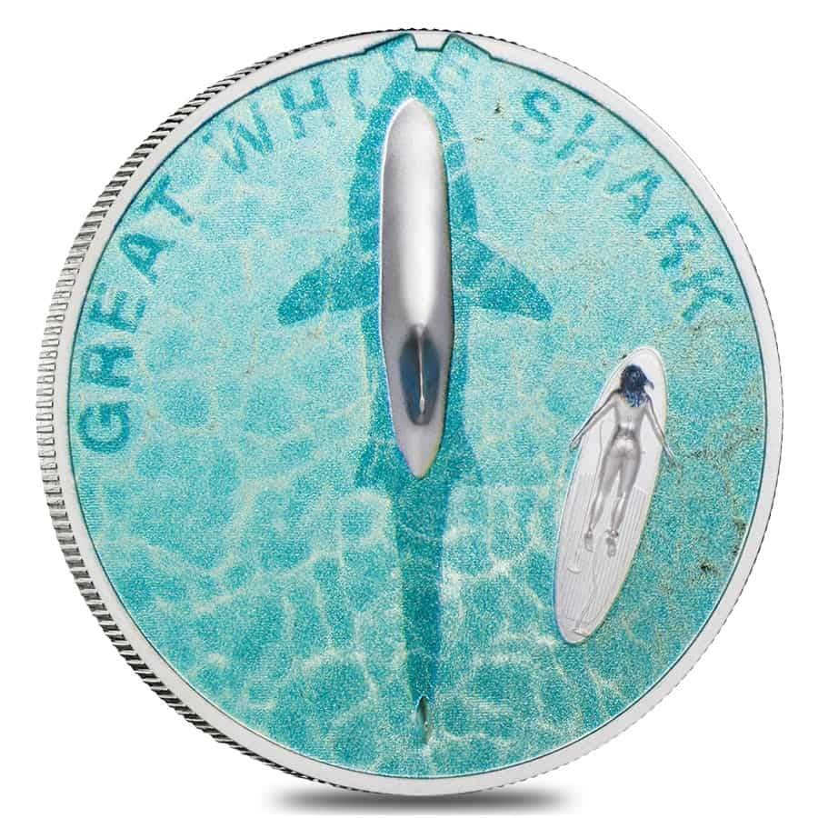 2021 1 oz Proof Silver Great White Shark Palau Coin