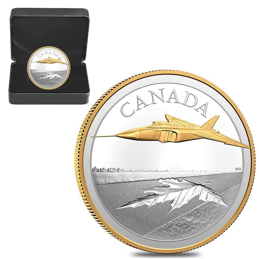 2021 Gold and Silver Avro Arrow proof silver coin Canadian Mint