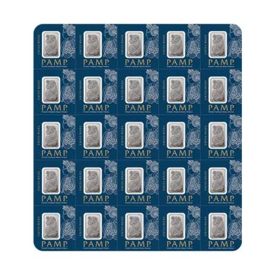 25x1 gram Platinum Bar PAMP Suisse Fortuna Multigram+25 (In Assay)