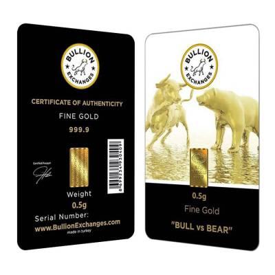 """1/2 Gram Bullion Exchanges """"BULL vs BEAR"""" Istanbul Gold Refinery (IGR) .9999 Gold Bar (In Assay)"""