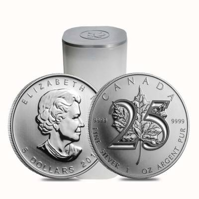 2013 1 oz Canadian 25th Anniversary Silver Maple Leaf Coin (25-Coin Tube)