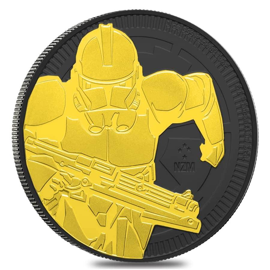 2019 24K GILDED SILVER THE CLONE TROOPER STAR WARS EDITION 1Oz .999 NIUE COIN