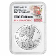 Emergency Production 1oz Silver Eagle NGC MS70 ER Trolley Label s 2020