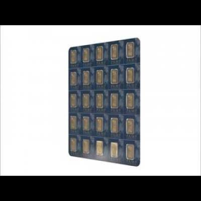 PAMP Suisse Sheet of 25 Multigram Snap-Off Fortuna 1 Gram Gold Bars Sealed with Assay Certificate